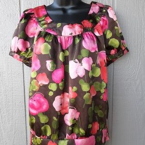 Apt. 9 Silky Floral Multicolor Blouse Size Small